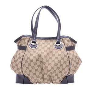 GUCCI GG Canvas Hobo Handbag Beige/Black Canvas/Le